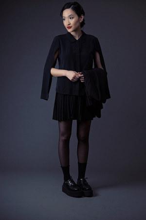 black TUK shoes - black tuxedo calvin klein blazer - cotton Uniqlo socks