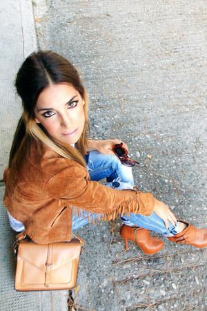 tawny Zara jacket - tawny Bershka boots - navy zic zac jeans - tawny Zara bag
