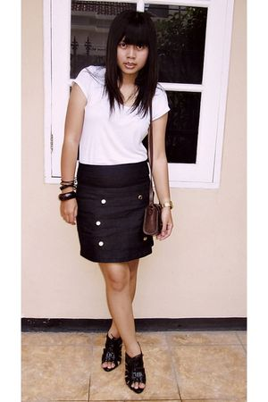 white Forever 21 top - black Hardware skirt - black Charles &amp; Keith shoes