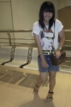 silver local brand shorts - white no brand t-shirt - brown vintage purse - gold