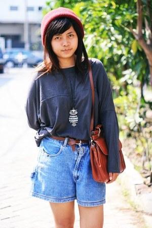 burnt orange vintage bag - charcoal gray thrifted blouse
