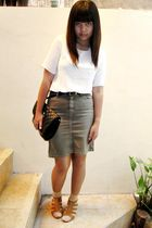 white vintage blouse - brown xanadu skirt