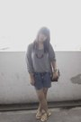 Gray-magnolia-blouse-silver-local-brand-shorts-brown-from-jogja-accessories-