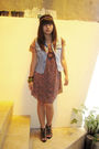 Red-unknown-brand-dress-blue-thrifted-vest-black-ladylike-shoes
