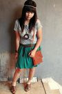 Silver-forever-21-top-green-nyla-skirt-brown-guess-shoes