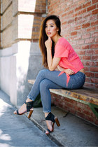 hot pink Victorias Secret t-shirt - Jeffrey Campbell shoes