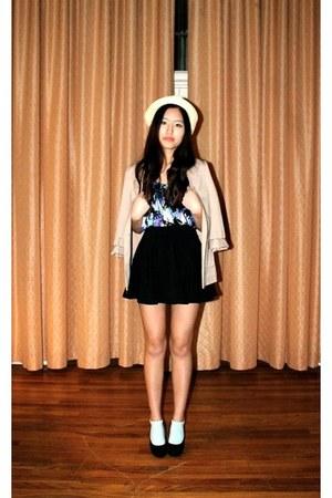 black circle skirt romwe skirt - tan H&M blazer - black Aldo wedges