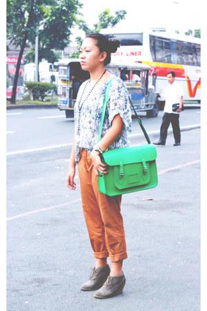 teal Topshop shirt - green cambridge satchel bag - burnt orange trousers Mango p