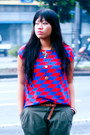 Red-printed-icandy-shirt-black-buckle-up-manels-shoes