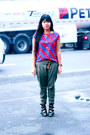 Black-buckle-up-manels-shoes-red-printed-icandy-shirt