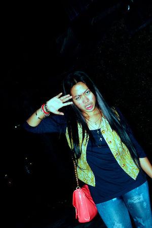 blue Forever 21 top - gold Mash Up vest - blue Black Sheep jeans - pink Parisian