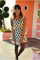 polka dots Forever 21 dress - studded thrifted vintage flats