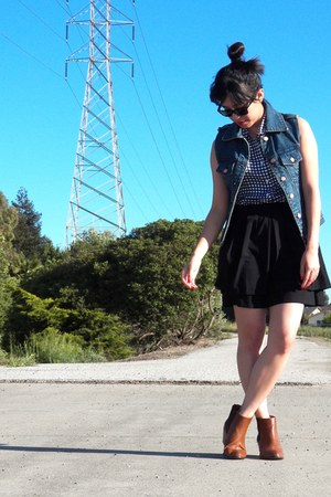 H&M boots - Equipment shirt - rayban sunglasses - brandy melville vest