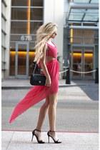 coral Love dress - black coach bag - Zara heels