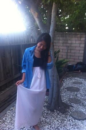 light pink maxi skirt Nordstrom skirt - blue denim shirt Forever 21 shirt