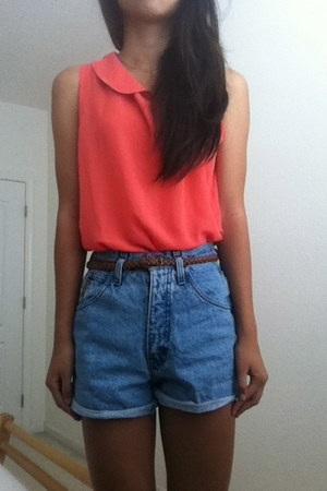 blouse - high waisted shorts