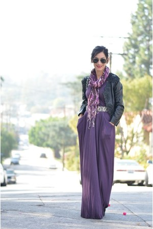 purple Theory dress - black Anthropologie jacket - puce portolano scarf