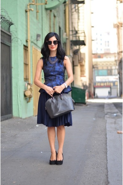 black Louis Vuitton bag - black Miu Miu sunglasses - navy vintage skirt