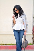 blue Zara jacket - blue J Brand jeans - heather gray Marc by Marc Jacobs bag