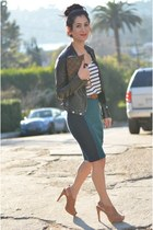 black Forever 21 jacket - navy Zara shirt - brown Pour La Victoire heels