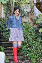 red J Crew boots - black madewell dress - blue Forever 21 jacket