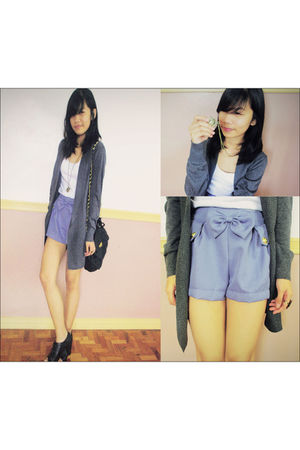 gray cardigan cardigan - blue 168 shorts - black oxfords shoes - black sling bag