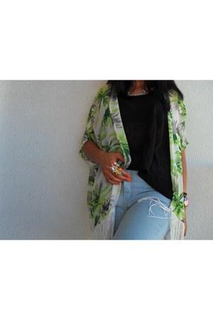 sky blue Choies jeans - chartreuse AX Paris blazer