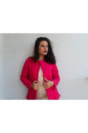 camel Sheinside dress - hot pink Sheinside coat