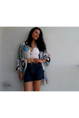 navy Front Row Shop blazer - blue romwe shorts - white Choies necklace
