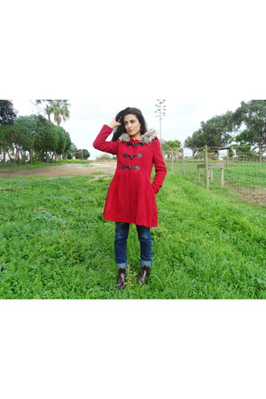 red sammydress coat - bronze CN direct blazer - ruby red CN direct blouse