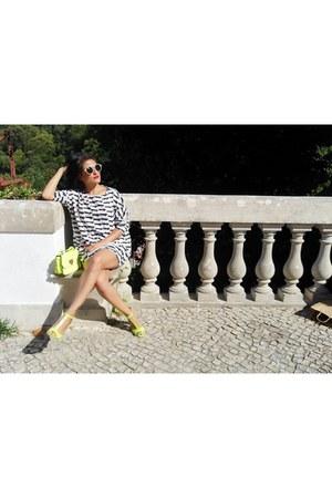 white Sheinside dress - gold Sheinside bag - yellow Choies sandals