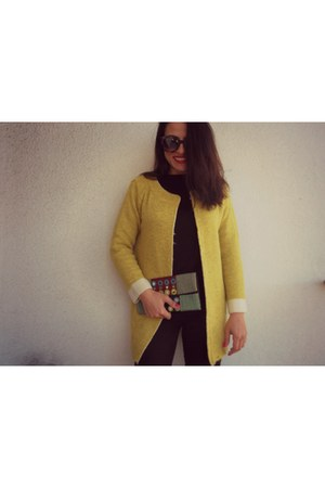 yellow romwe blazer - black Dressin blouse - red Lovely shoes sandals