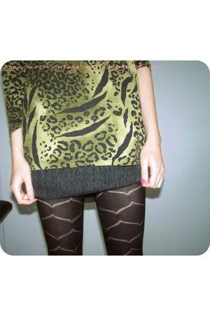 green vintage sweater - gray vintage skirt - black Market tights - black vintage