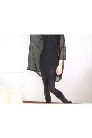 black Monki shirt - black Dunno-sorry dress - black Primark tights
