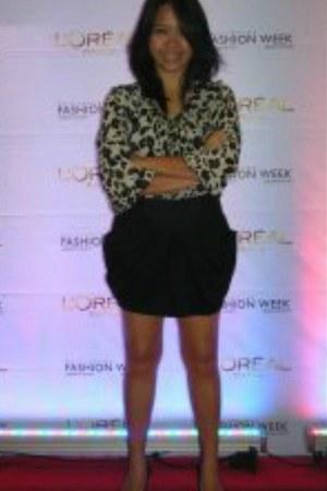 black casual Mango skirt - cream chiffon Topshop blouse