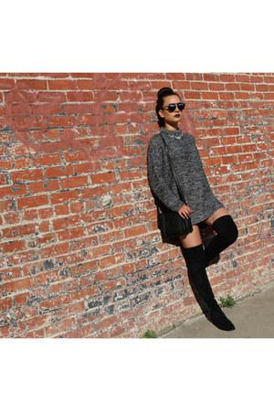 black Kaitlyn Pan boots - dark gray cotton on sweater - black Forever 21 bag