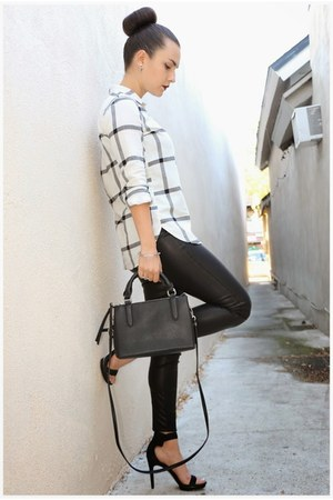 vegan leather blank nyc leggings - Forever 21 purse - calvin klein heels