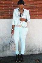 floral blouse - aquamarine H&M jeans