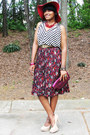 Black-stripes-h-m-blouse-black-pleated-thrifted-vintage-skirt