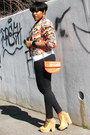 Carrot-orange-graphic-pattern-august-silk-jacket-black-levis-jeans