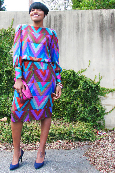 chevron thrifted vintage dress - navy Payless heels