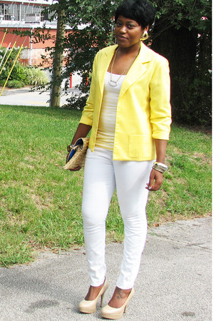 yellow yellow thrifted vintage blazer - white asos jeans - tan Payless heels