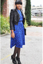 navy paisley thrifted vintage dress - black Nine West boots
