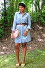 Periwinkle-denim-dress-bubble-gum-hobo-bag-yellow-nine-west-wedges