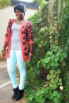 coral leopard print Forever 21 cardigan - light blue mint H&M jeans