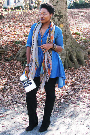 black Jessica Simpson boots - black Old Navy jeans - blue top