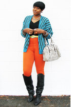 teal Urban Renewal sweater - carrot orange high-waisted thrifted vintage jeans