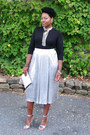 Black-top-silver-skirt-silver-sandals