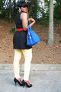 Black-bb-dakota-dress-light-yellow-jeans-red-belt-black-nine-west-heels
