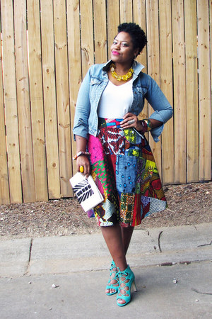 african print skirt - sky blue denim jacket jacket - white Mossimo shirt